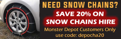 Visit our trusted hire partner BOSS Outdoor Sports to SAVE 20% on Snow Chain Hire